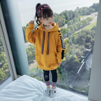女童秋冬卫衣加厚2018新款韩版儿童装秋装中长款抓绒运动上衣连帽 姜黄色