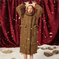 拉夏贝尔中长款羽绒服女装过膝加厚宽松冬季新款白鸭绒保暖面包服外套