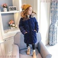 童装女童棉衣2018新款冬装羽绒加厚中长款棉袄加绒外套 藏青色