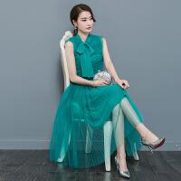 夏季连衣裙女新款 韩版时尚淑女无袖系带百褶网纱长裙子夏天