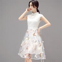 欧根纱连衣裙2018夏装新款韩版修身高腰中裙蕾丝短袖旗袍百搭裙子 白色