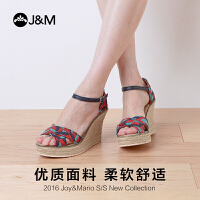 【低价秒杀】JM快乐玛丽凉鞋夏季欧美坡跟时尚个性亚麻底休闲鞋女鞋88026W