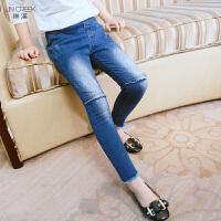 女童牛仔裤中大童修身小脚裤春装新款韩版时尚弹力长裤女孩铅笔裤