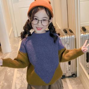 乌龟先森 针织衫 女童长袖圆领拼接正反两穿套头衫秋冬新款韩版儿童时尚休闲舒适百搭中大童毛衣
