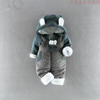 男宝宝婴儿男童装衣服冬装1岁半男孩2幼儿童3小孩加绒厚背带套装