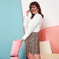 拉夏贝尔韩版女套装新款时尚装雪纺衫小香风衬衫格子短裙两件套
