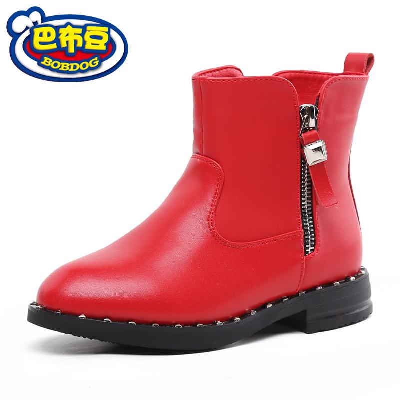巴布豆童鞋 女童靴子2016冬季新款真皮公主鞋马丁靴皮靴女童短靴冬季新款