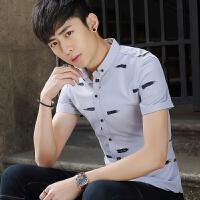 夏季新款短袖衬衫男士韩版修身免烫时尚潮流印花薄款百搭衬衣 灰色