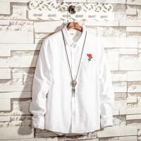 秋季新款男士长袖白衬衫2018新款发型师玫瑰花刺绣时尚衬衣韩版潮