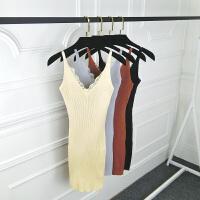 2018春夏季女装新款v领针织吊带连衣裙中长款显瘦裙子打底背心裙