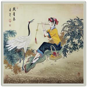 精致工笔《致青春》中国女工笔画协会委员,书画家协会一级美术师R2168