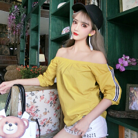 韩版性感夜店女装2018春秋一字领糖果色气质露肩上衣小衫T恤