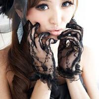 性感透明蕾丝透视黑白色短蕾丝手套 新娘女佣猫女情趣内衣搭配饰