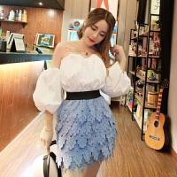 2018新款韩版小香风性感泡泡袖抹胸上衣+蕾丝不规半身裙套装