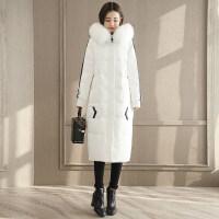 羽绒服女中长款2018韩版冬季白色时尚长款过膝白鸭绒大毛领潮