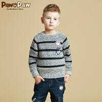【2件2.5折 到手价:150】Pawinpaw宝英宝卡通小熊童装冬季款男童毛衣儿童撞色针织套头衫