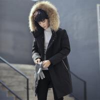2018新款羽绒服男中长款冬季帅气加厚韩版潮流宽松男士大毛领外套