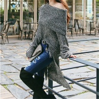 秋冬季文艺复古前短后长针织衫女士中长款时尚性感露肩一字领毛衣 花灰色 均码