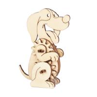 齿轮物语木质3d立体拼图模型迷你动物齿轮传动积木制儿童拼装玩具