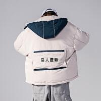 日系潮牌男士棉衣宽松撞色连帽恶人退散趣味印花加厚棉服男装外套