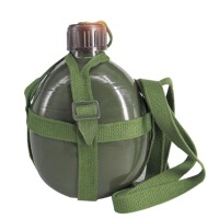 谋福 铝制1L大容量背水壶 军绿色老式水壶 户外军用水壶 军训水壶 登山水壶 军用水壶 1升