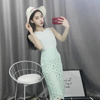 夏装新款洋气双层雪纺背心+修身镂空蕾丝高腰半身裙套装女