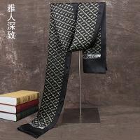 杭州丝绸春秋薄款男士 丝巾围巾双层 丝巾商务英伦男领巾