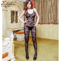 ESibibi 欧美大码情趣丝袜连身袜超薄透视透气开档网纱连体袜W202