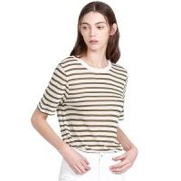 【网易严选 限时抢】女式法国亚麻清爽条纹圆领T恤