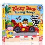 小熊很忙系列 赛车手 英文原版 Bizzy Bear Racing Driver 纸板书 纸板书 机关操作书 0-6岁