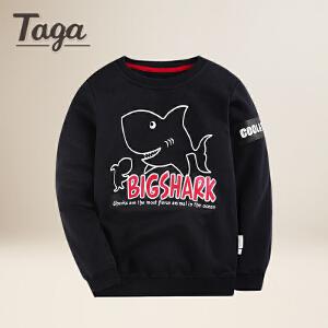 taga童装儿童卡通卫衣T恤2018春季新款针织圆领t恤衫打底上衣纯棉