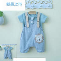 0一1-2-3岁半男宝宝夏装半袖背带裤两件套装婴儿童装时尚潮款衣服