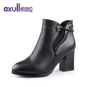 依思q冬季新款粗跟高跟短靴金属吊坠潮靴女