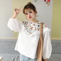 韩版春装2018新款女装学生衬衫上衣花朵刺绣荷叶边长袖娃娃衫衬衣