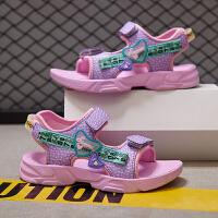 【1件2折折后价:49元】时尚韩版2021夏季新款网红中大童儿童运动软底沙滩鞋休闲女童凉鞋