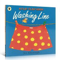 儿童英文原版绘本 A Flip-Flap Book:Washing Line Jez Alborough 交错页翻翻书