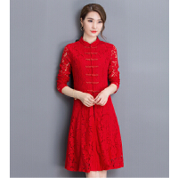 名媛气质2018春装新款性感中长款裙子红色蕾丝旗袍连衣裙冬季女装