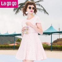 【清仓3折价99.9】Lagogo/拉谷谷2019年夏季新款时尚淑女纯色短袖连衣裙GALL333C67