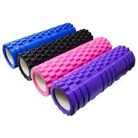 泡沫轴瘦腿健身keep肌肉放松狼牙按摩棒筋膜瑜伽柱装备滚轴轮 粉色 【轴长33cm】 均码