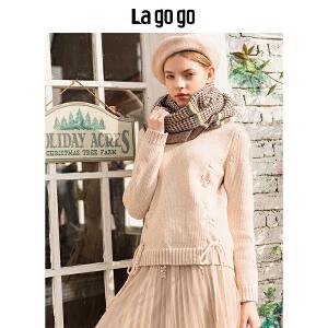 【清仓3折价107.7】Lagogo/拉谷谷2019冬季新款甜美绑带针织衫HCMM439A26