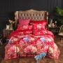 伊迪梦家纺 欧式美大花卉贡缎提花印花四件套 高支高密全棉简约1.8m米双人床上用品被套床单套件JY4
