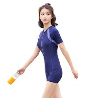 泳衣女连体平角保守遮肚学生运动游泳衣温泉短袖泳装 X