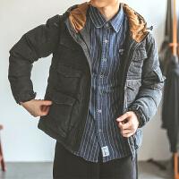 复古冬季加厚棉衣夹克潮牌男多口袋情侣款工装外套