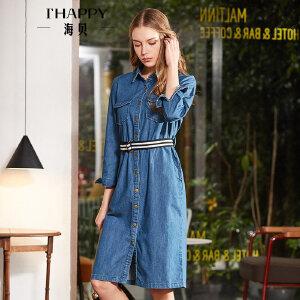 海贝2018春装新款女翻领长袖单排扣收腰系带蓝色中长款牛仔连衣裙