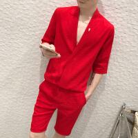 夏季亚麻男士休闲五分裤套装时尚V领精神小伙潮流个性T恤两件套