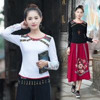 秋装新款 中国风女装上衣 复古民族风女装t恤长袖刺绣打底衫
