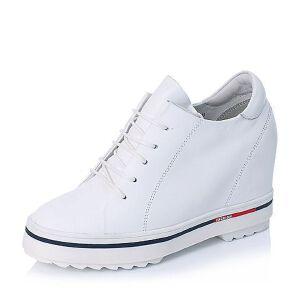 BASTO/百思图专柜同款软面牛皮女单鞋YCB01CM6小白鞋运动鞋女小白鞋女