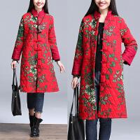 春节女装新款2018中国风显瘦唐装胖mm大码立领盘扣棉衣中长款外套