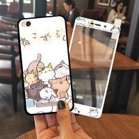 红米4A手机壳卡通个性男女防摔红米4A钢化膜全屏创意韩国支架软套