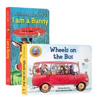 英文原版 启蒙入门绘本2本I am a Bunny我是一只兔子the Wheels on the Bus 2册 早教纸